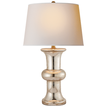 BULL NOSE CYLINDER TABLE LAMP IN MERCURY GLASS WITH NATURAL PAPER SHADE