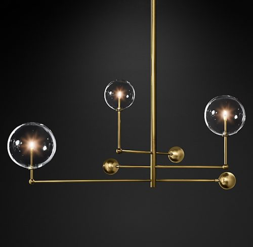 Globes 3 Glass Chandelier in Burnished Brass