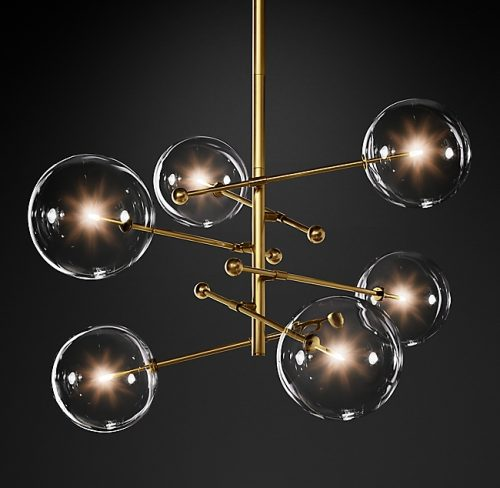 Globes 6 Glass Chandelier in Burnished Brass