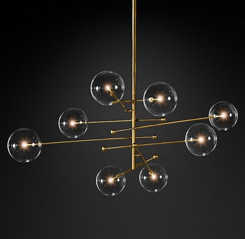 Globes 8 Glass Chandelier in Burnished Brass