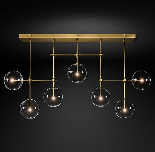 Globes 7 Glass Chandelier in Burnished Brass