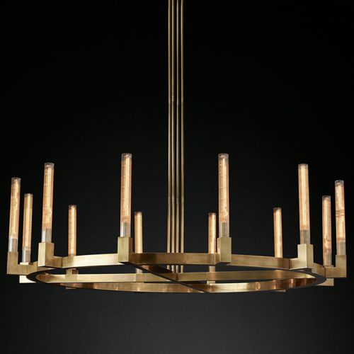 Cannele 12 Light Chandelier in Burnished Brass