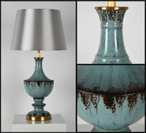 Blue Antique Ceramic Table Lamp with Shade
