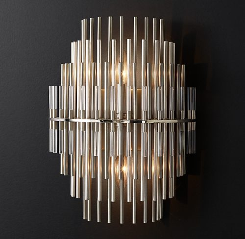 Emile Glass Wall Sconce in Pewter