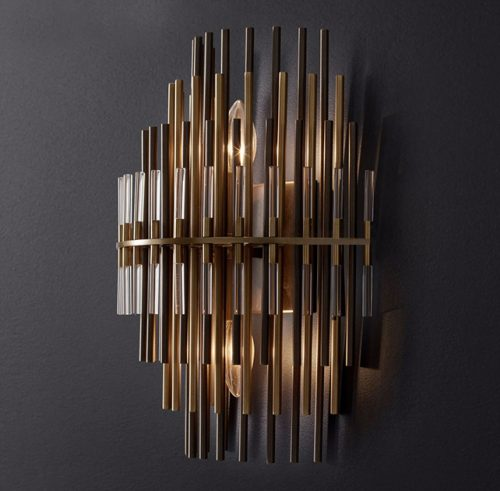 Emile Glass Wall Sconce in Burnished Brass