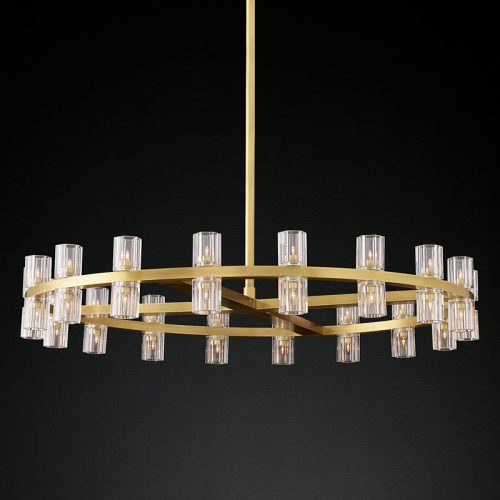 Arcachon 36 Light Chandelier in Burnished Brass
