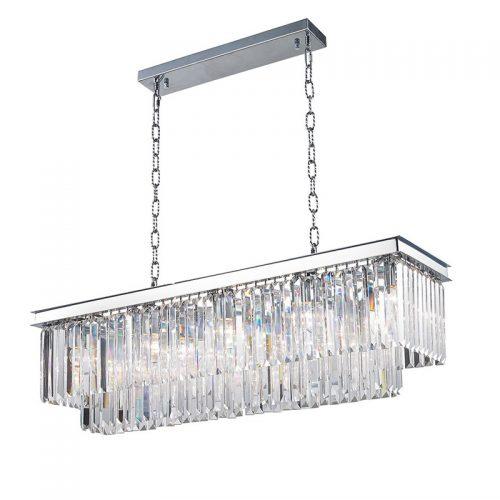 Odeon 10 Light Rectangle Crystal Chandelier