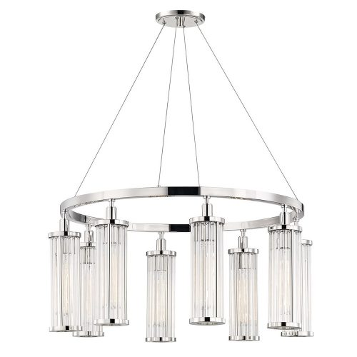 Marley 8 Light Pendant in Polished Nickel