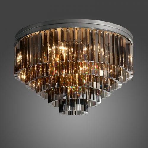 "Odeon 20"" Crystal Ceiling Light in Black"