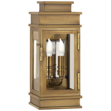 Linear Mini Wall Lantern in Antique Burnished-Brass with Clear Glass