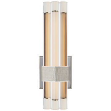 "Fascio 14"" Asymmetric Sconce in Polished Nickel with Crystal"
