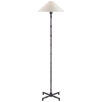 Grenol Floor Lamp in Polished Nickel with Natural Percale Shade