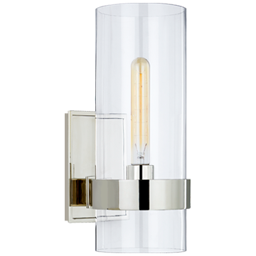 Presidio Small Sconce in Polished Nickel with Clear Glass