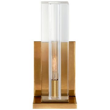 Ambar Small Wall Light in Crystal and Polished Nickel