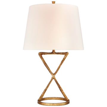 Anneu Table Lamp in Gilded Iron with Linen Shade