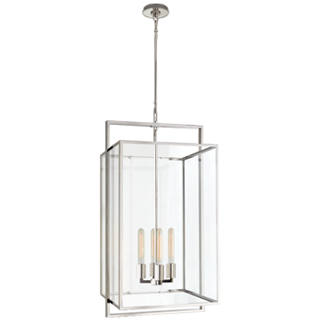 Halle Medium Lantern in Polished Nickel with Clear Glass
