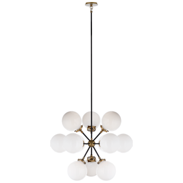Bistro Small Round Chandelier in Polished Nickel with Clear Glass