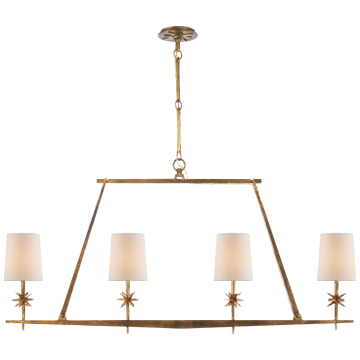 Etoile Linear Chandelier in Gilded Iron with Natural Paper Shades