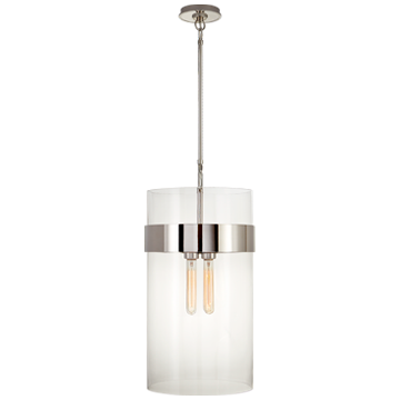 Presidio Medium Pendant in Polished Nickel with Clear Glass