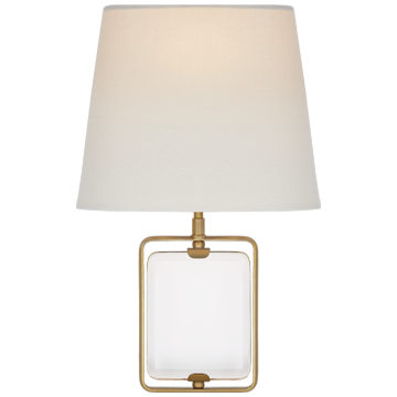 Henri Framed Jewel Sconce in Crystal and Polished Nickel with Linen Shade