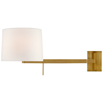 Sweep Medium Left Articulating Sconce in Polished Nickel with Linen Shade