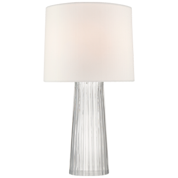 Danube Medium Table Lamp in Clear Glass with Linen Shade