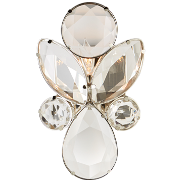 Lloyd Small Jeweled Sconce in Nickel with Clear Crystal