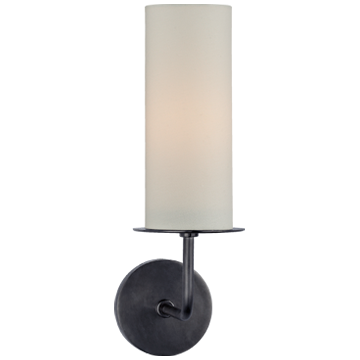 Larabee Single Sconce in Polished Nickel with Cream Linen Shade