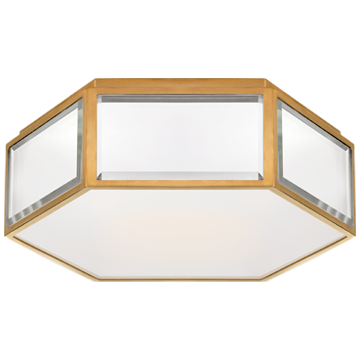 Bradford Small Hexagonal Flush Mount in Mirror and Polished Nickel with Frosted Glass