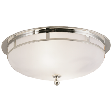 Openwork Large Flush Mount in Polished Nickel with Frosted Glass