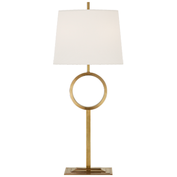 Simone Medium Buffet Lamp in Polished Nickel with Linen Shade
