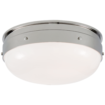 Hicks Small Flush Mount in Polished Nickel with White Glass