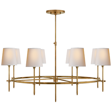 Bryant Large Ring Chandelier in Polished Nickel with Natural Paper Shades