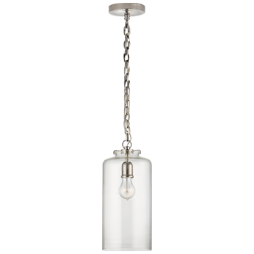 Katie Cylinder Pendant in Polished Nickel with Clear Glass