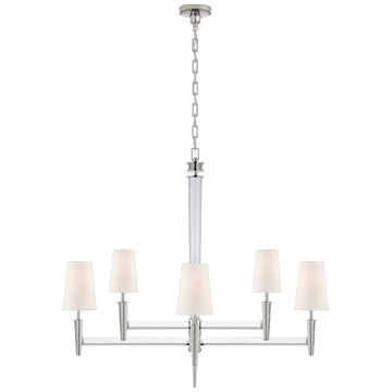 Lyra Two Tier Chandelier in Polished Nickel and Crystal with Linen Shades