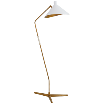 Mayotte Large Offset Floor Lamp in Hand-Rubbed Antique Brass with White Shade