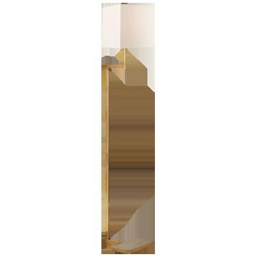 Alander Floor Lamp in Polished Nickel with Linen Shade