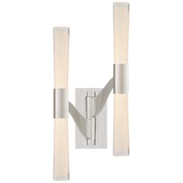 Brenta Large Double Articulating Sconce in Polished Nickel with Clear Glass