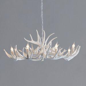 Antler 42'' White Resin 9 Light Chandelier