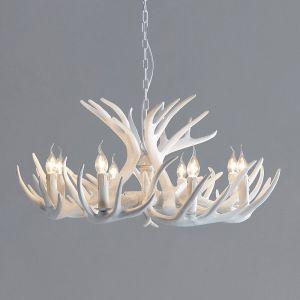 Antler 33'' White Resin 9 Light Chandelier