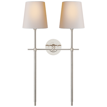 Bryant Large Double Tail Sconce in Polished Nickel with Natural Paper Shades