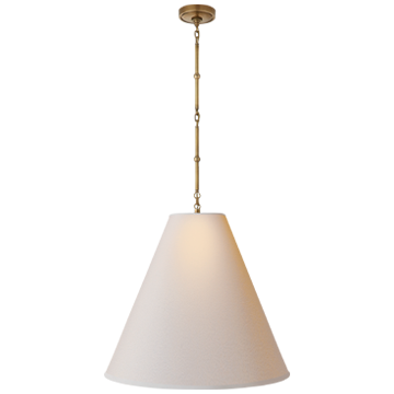 Goodman Large Hanging Lamp in Hand-Rubbed Antique Brass with Natural Paper Shade